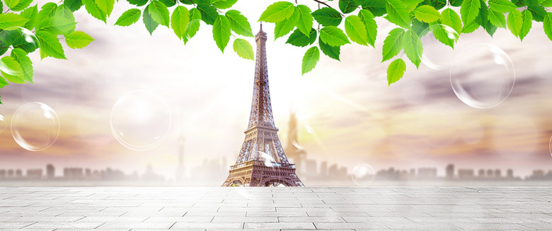 树叶巴黎铁塔背景