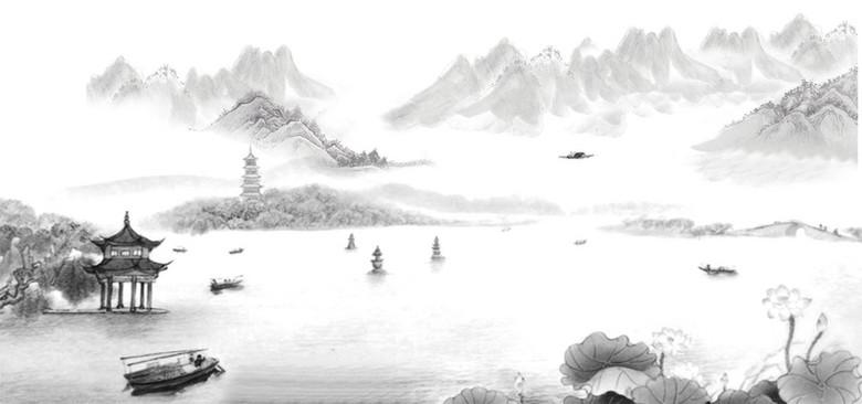 山川水墨中国风白色海报banner背景