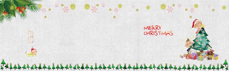 圣诞卡通纹理banner背景