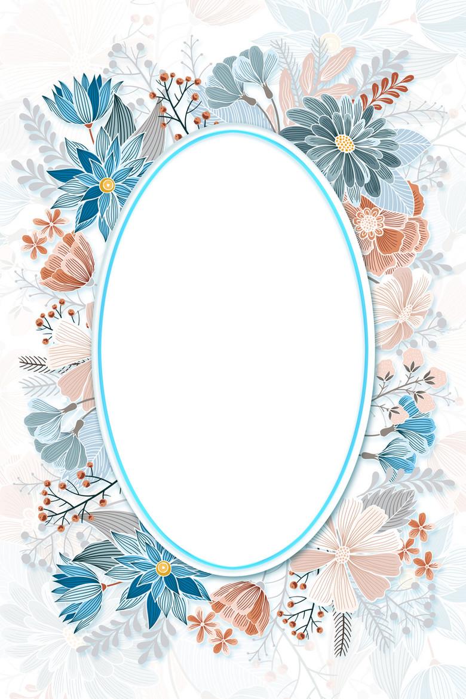 简约清新唯美花卉圆形欧式边框婚礼海报背景