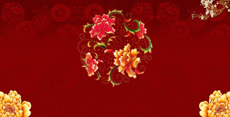 底纹红色花卉年会会议背景素材