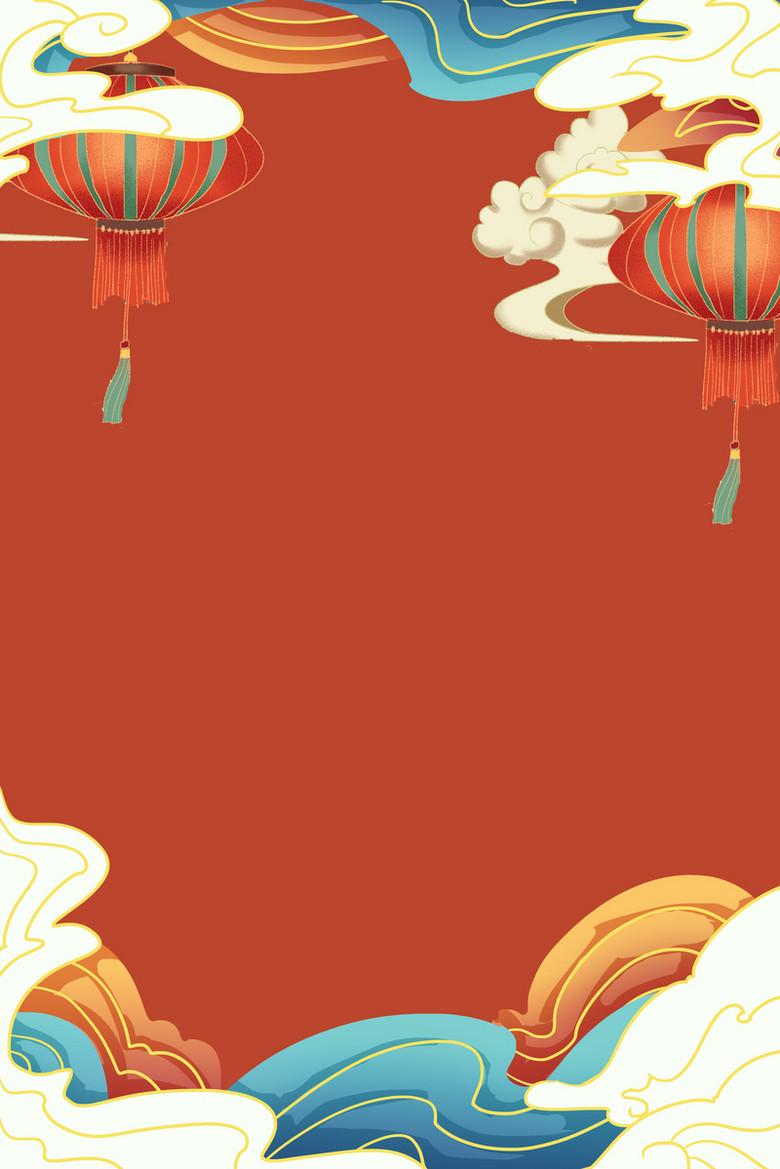 手绘国潮新年背景图