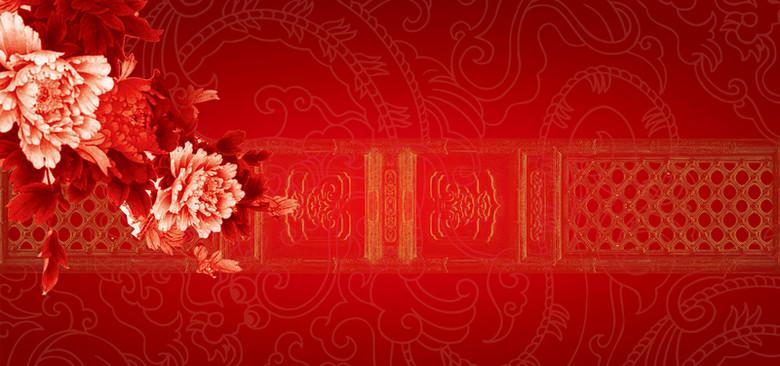 红色牡丹花舞台背景