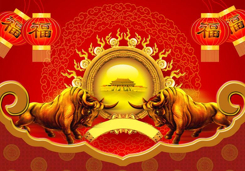 红色中国风金牛背景素材