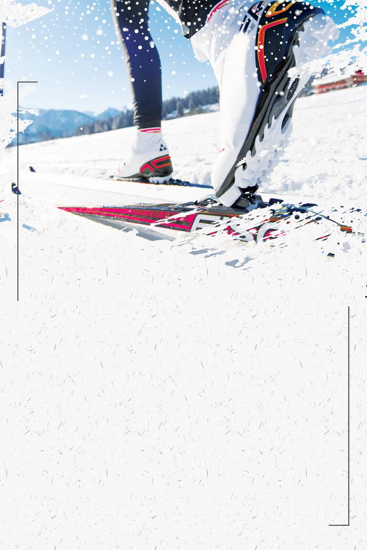 清新冬季滑雪运动背景模板