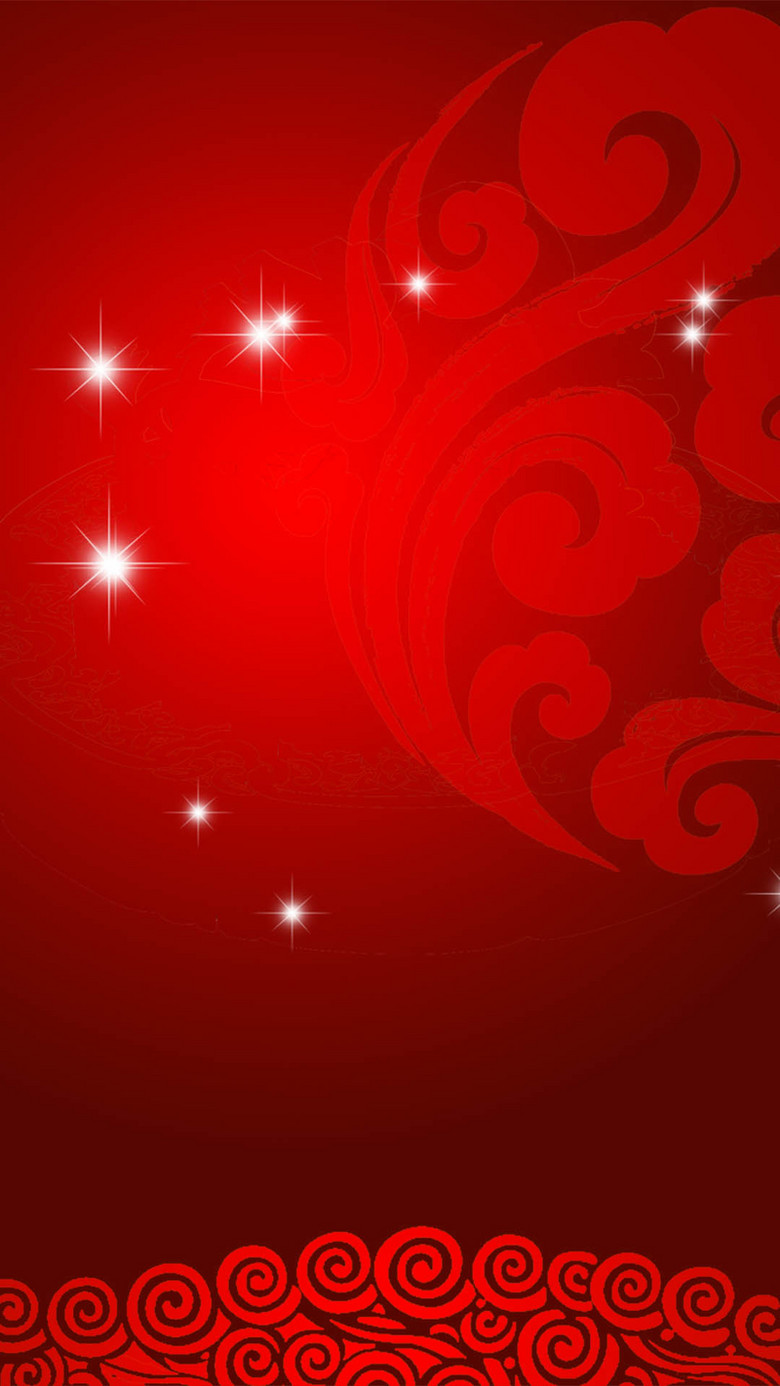鸡年新春简约红色分层H5背景
