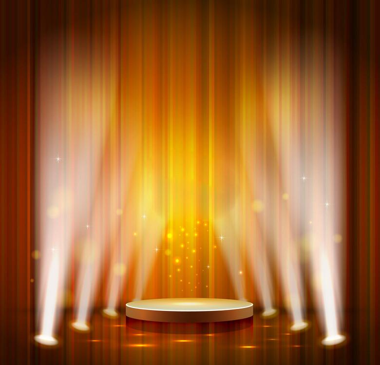 橙色舞台灯光背景