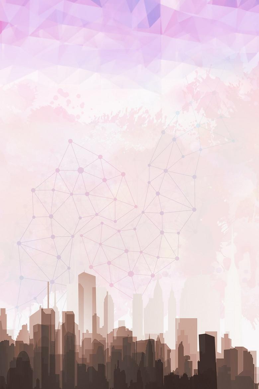 简约几何抽象城市