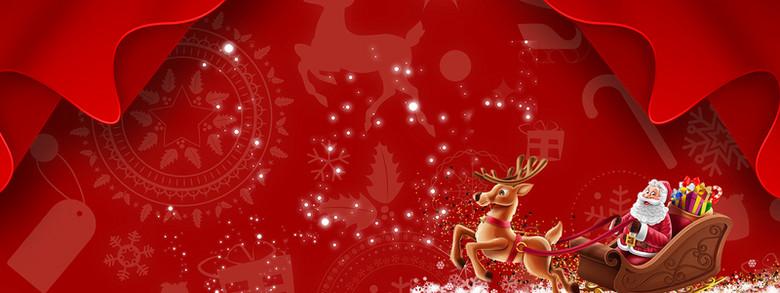 圣诞节老人卡通手绘红色banner