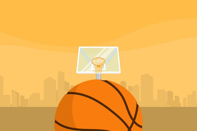 卡通质感篮球球场激情球赛城市背景素材