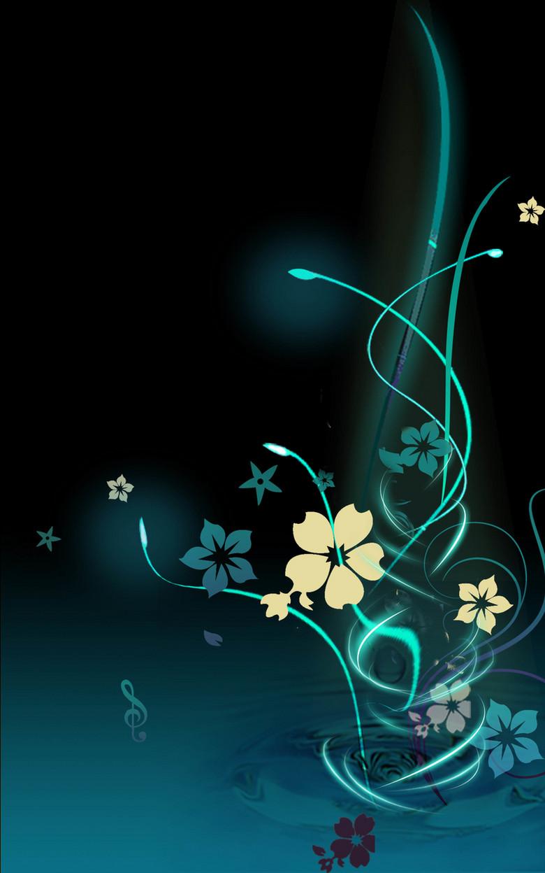 梦幻蓝色花卉背景