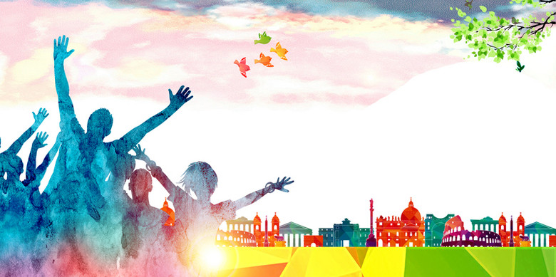 彩色创意剪影社团招新海报背景素材