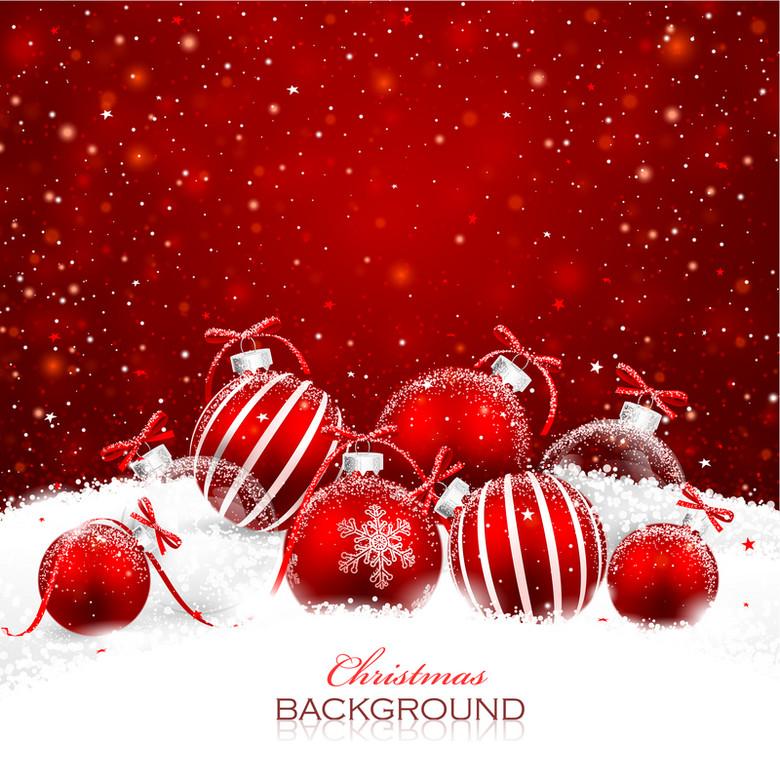 梦幻圣诞雪花吊球背景素材