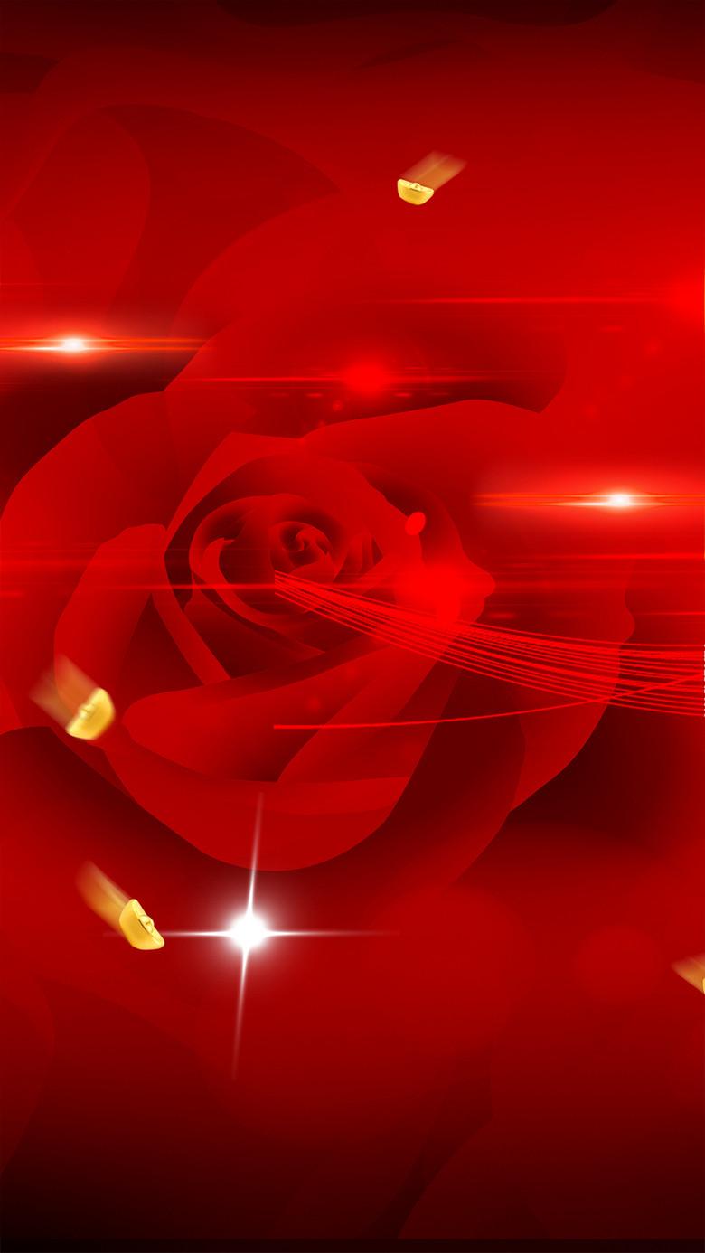 红色奔放玫瑰分层H5背景