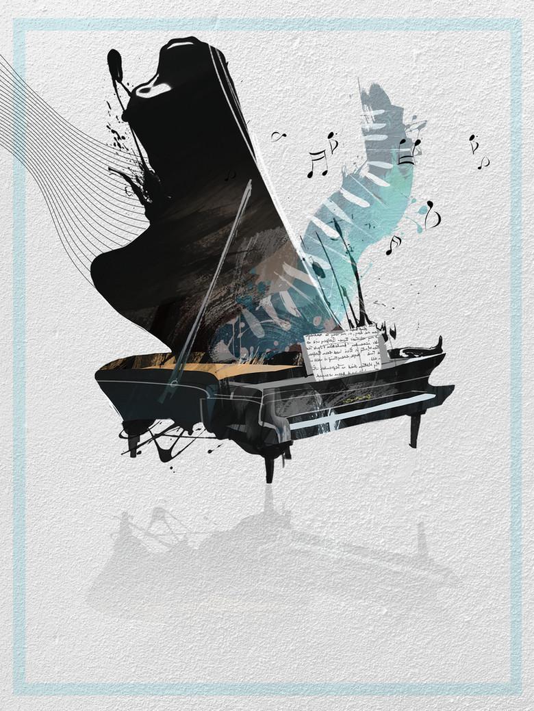 质感水墨钢琴培训招生背景素材