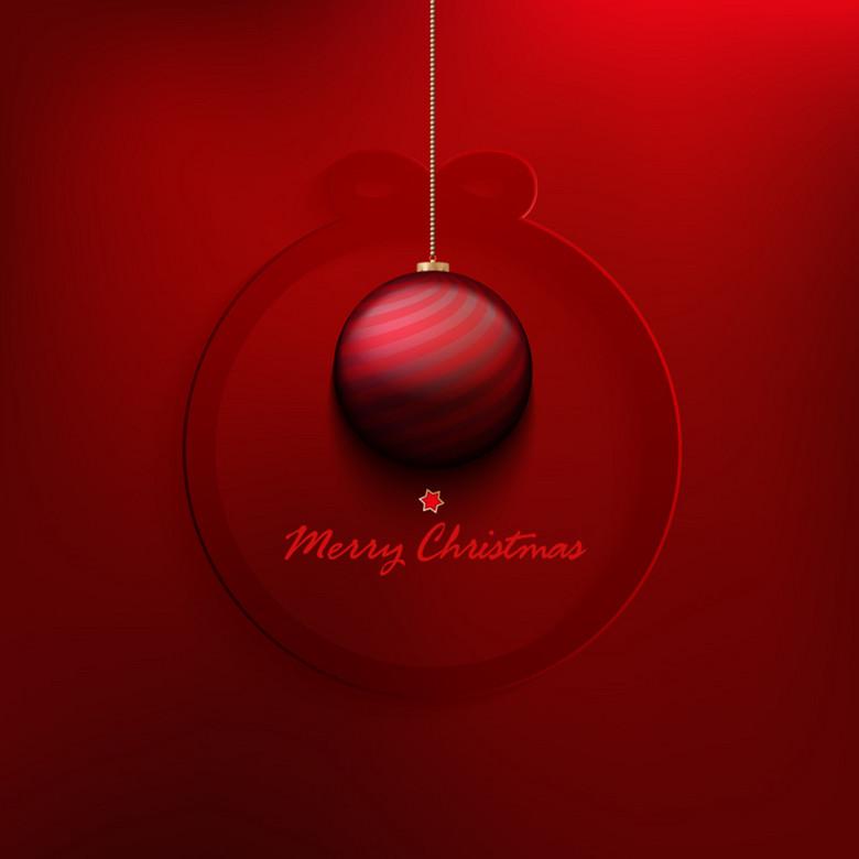 精美红色圣诞球贺卡图