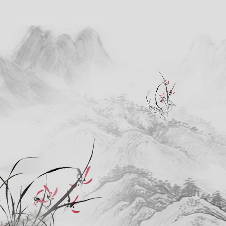 中国风水墨山水PSD分层主图