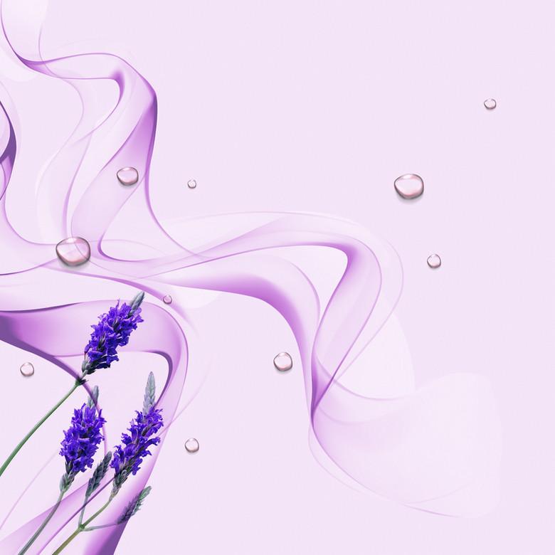 薰衣草紫色动感线条化妆品背景素材