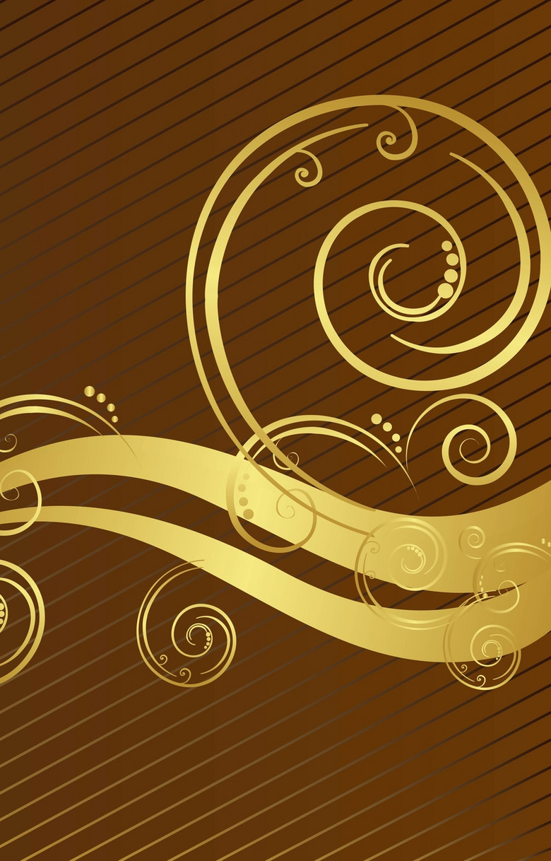 棕色花纹曲线背景素材