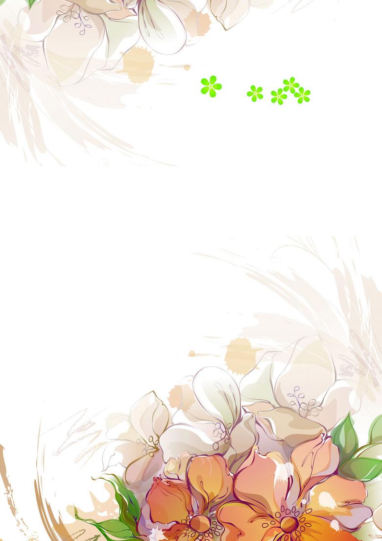 水彩花朵淡雅水墨宣传单海报背景素材