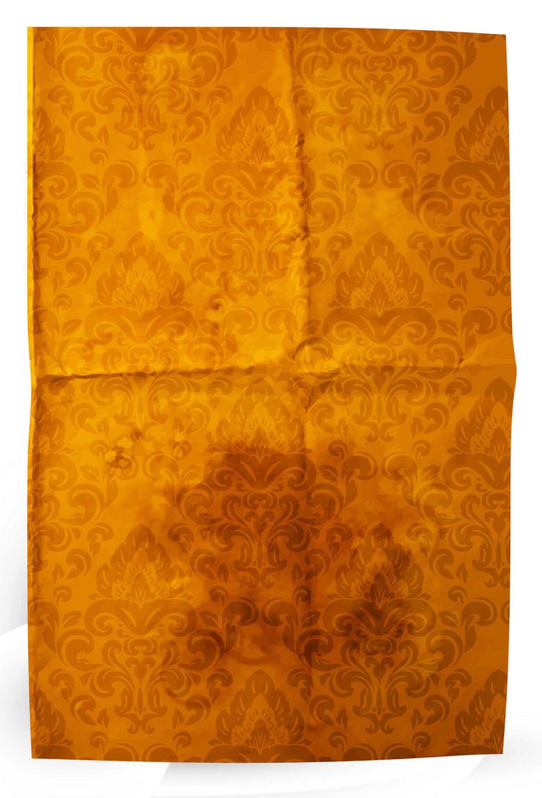 褶皱信纸背景复古欧洲花纹背景