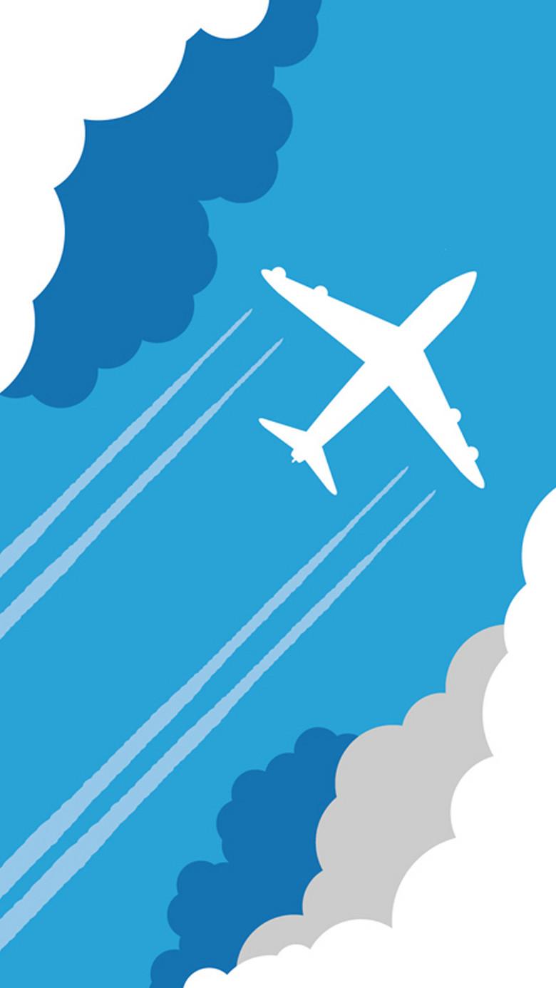 蓝色扁平化飞机图H5背景