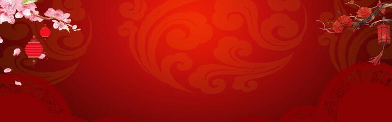 新春中国风红色电商海报背景