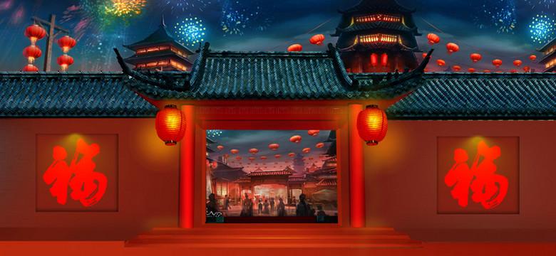 春节中国风红色海报背景