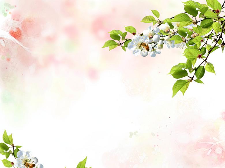 清新粉色花朵婚纱海报背景模板