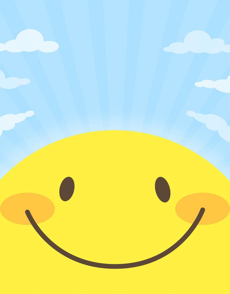 卡通手绘微笑笑脸太阳温馨海报背景素材
