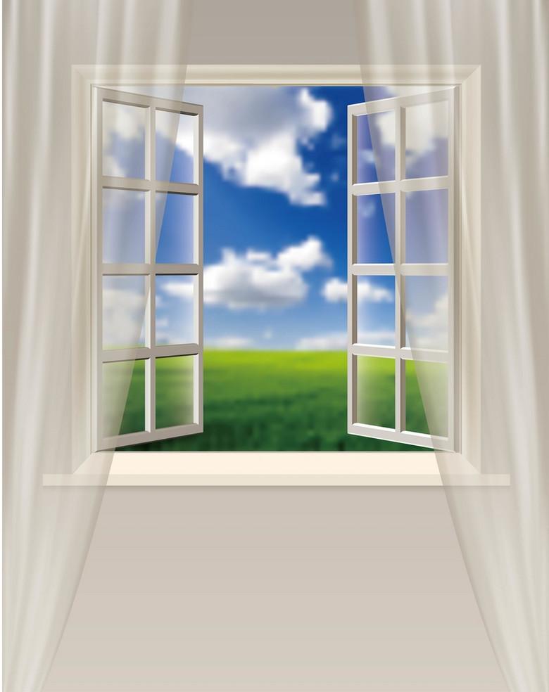 质感窗帘窗户风景背景素材