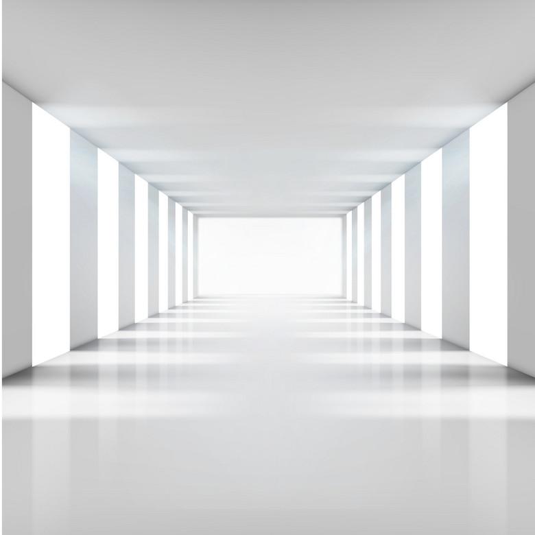 3D白色走廊柱子背景