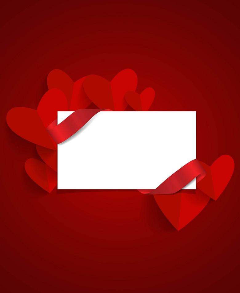 简约红色心形绸带520情人节促销背景