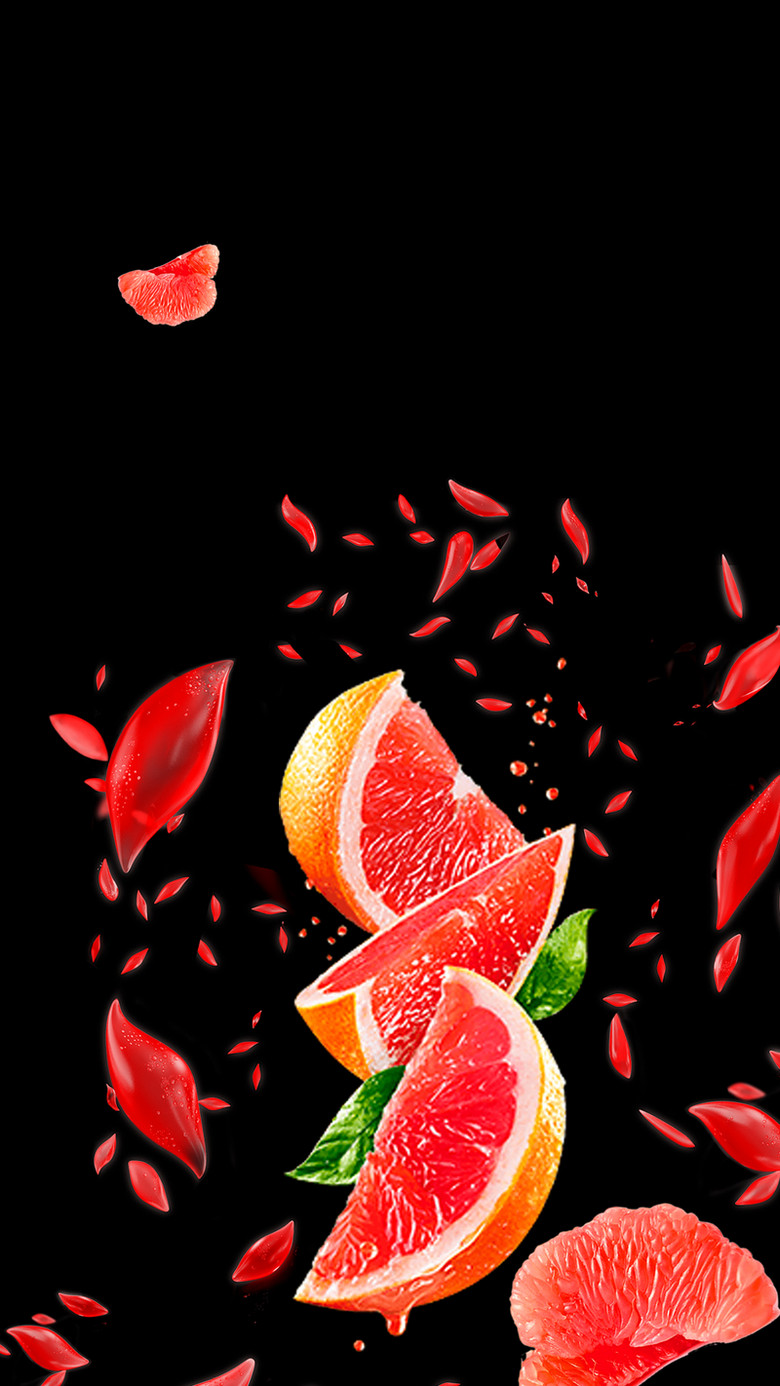 红柚水果背景PSD分层H5背景素材