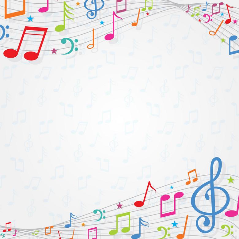 抽象五线谱彩色音符音乐节背景素材