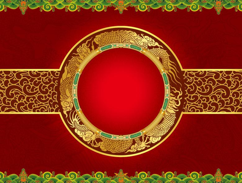 中式红色图腾食品包装背景素材