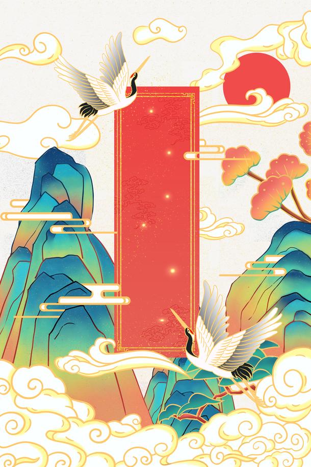 国潮手绘装饰元素图