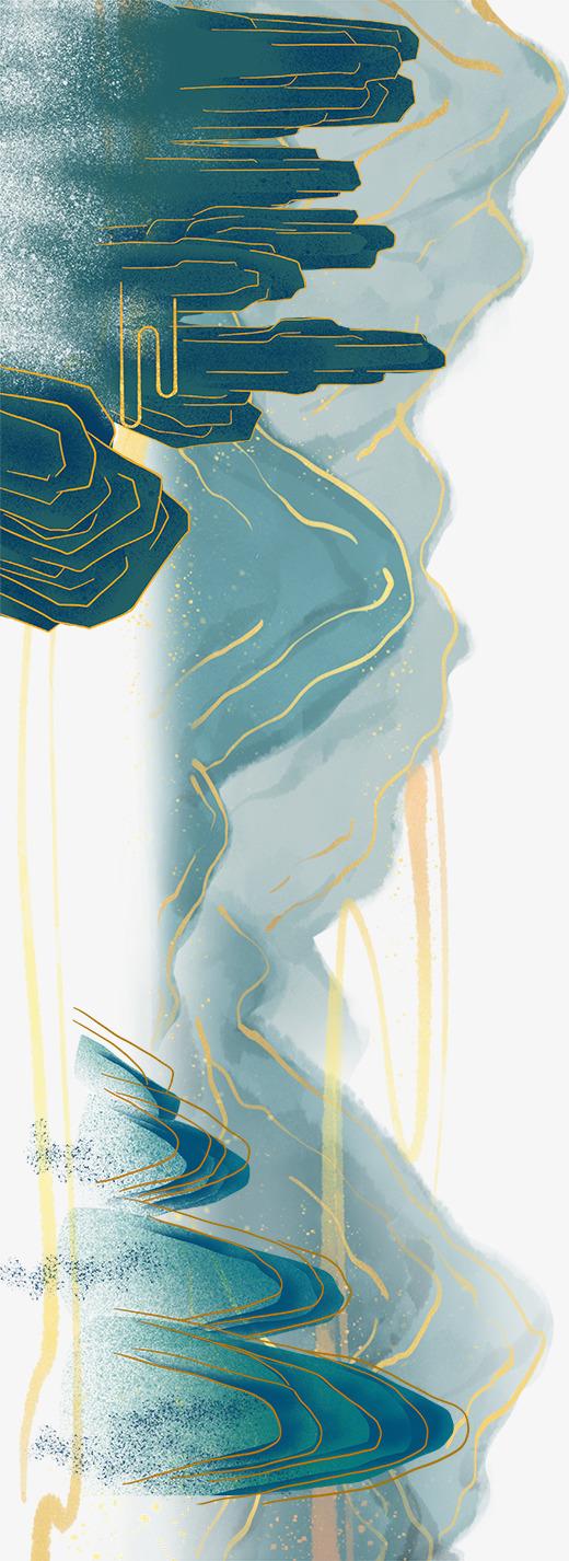 国潮中国风山水画手绘