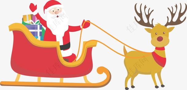 圣诞节驾驶驯鹿车的圣诞老人