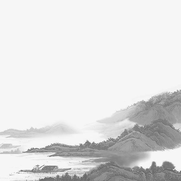 清明节水墨风山水背景源文件