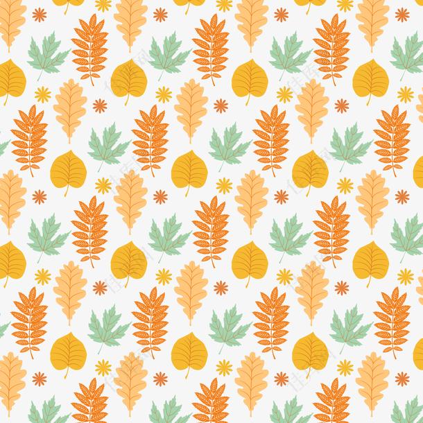 手绘秋季树叶