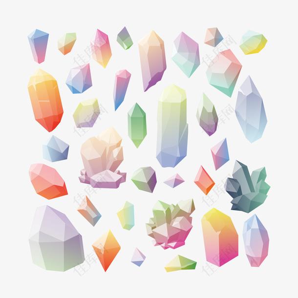 手绘彩色水晶宝石