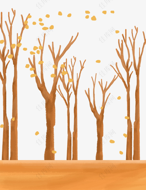手绘卡通秋天秋季树木