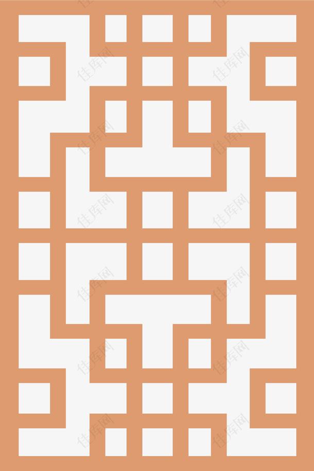 棕色中国风窗花装饰免抠
