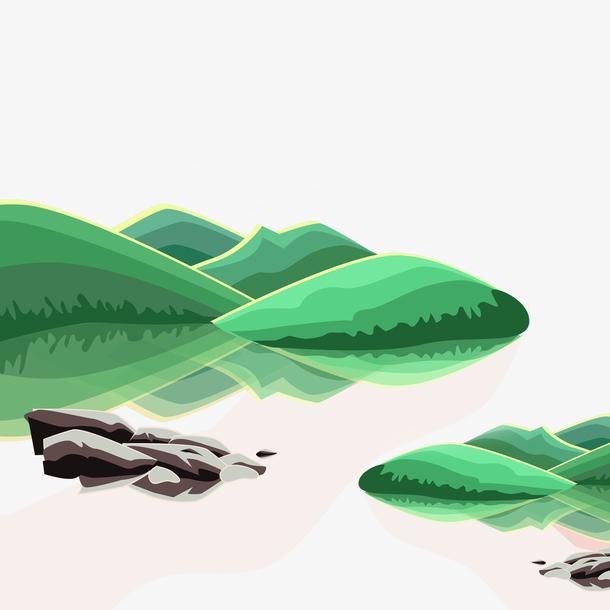 清明节水墨风手绘青山绿水