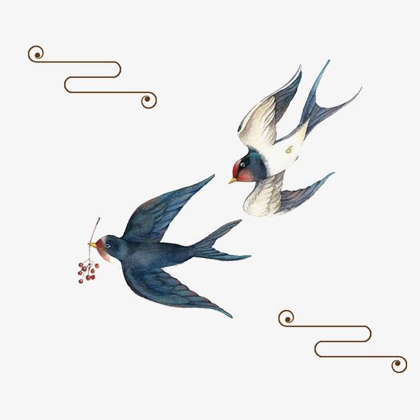 清明节水墨风燕子