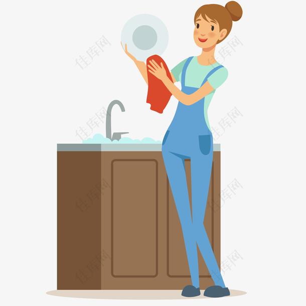 清洁工洗碗插画
