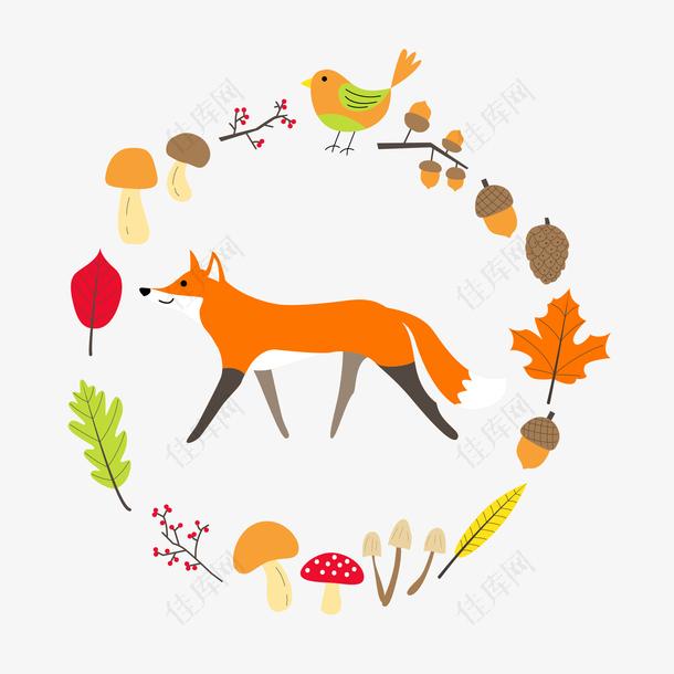 卡通可爱边框动物狐狸