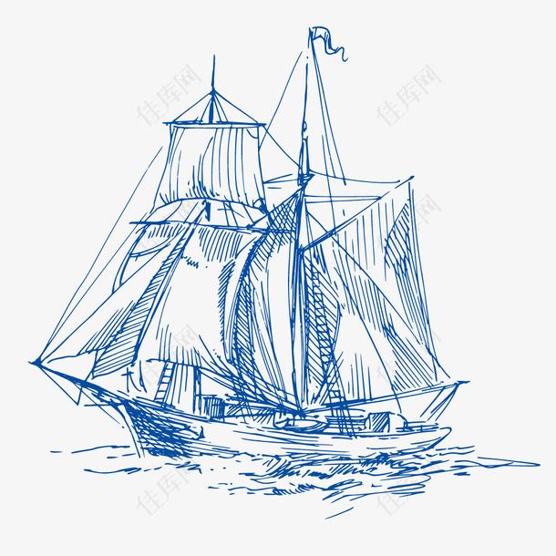 蓝色航海捕鱼帆船设计元素