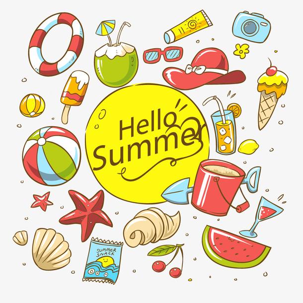 夏天暑假海边出游元素